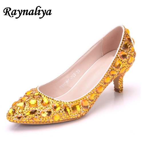 5a49d6abf Yellow Blue Wome Wedding Shoes White Rhinestone Crystal Wristband Bridal  Shoes Pointed Toe Thin Heels Female Shoes XY-B0008