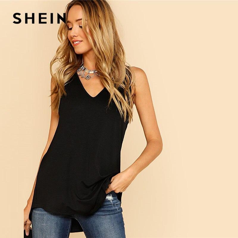 SHEIN V Neck Dolphin Hem Tank Top Black Asymmetrical V Neck Women Plain Vest 2018 Summer New Clothes Casual Long Top Vest
