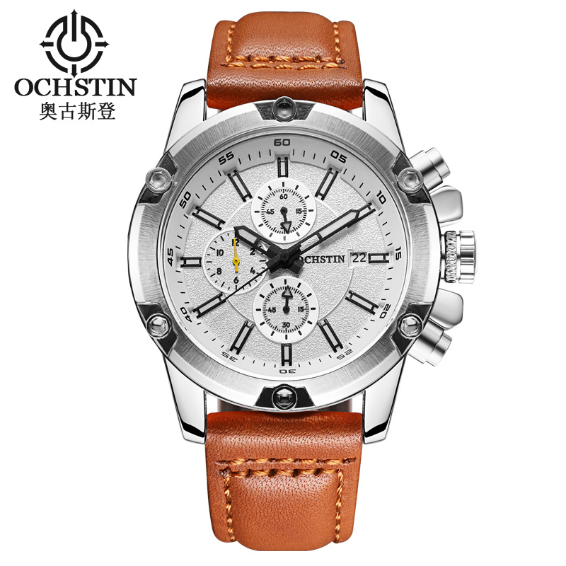 OCHSTIN Men Watches Fashion Leather Casual Sport Military Watches Men Business Quartz Male Wristwatch Relogio Masculino business casual quartz watch male men military watches sport wristwatch silicone fashion hours waterproof relogio masculino