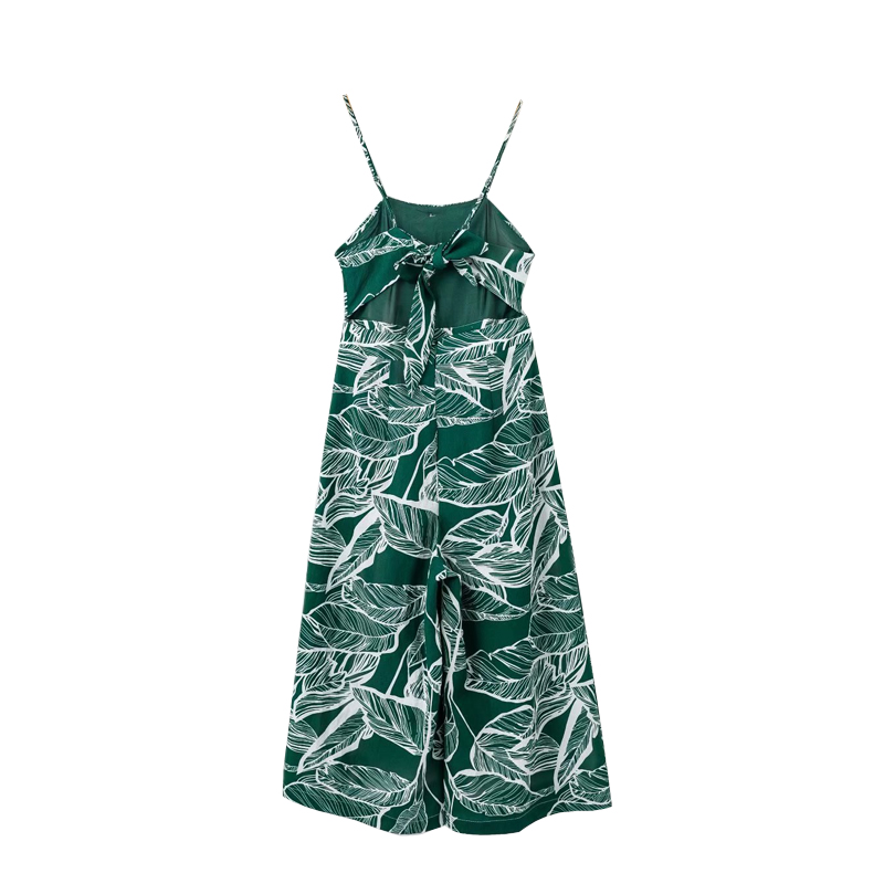 f6665bda8c5 Pure Cotton Women Spaghetti Strap Women Summer Jumpsuits Banana Leaf  Printed Women Wide legged Pants Calf length Playsuits-in Jumpsuits from  Women s ...