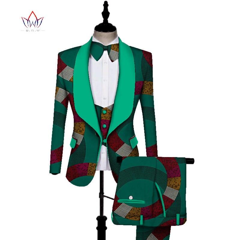 Imprimé africain 3 pièces hommes ensembles Dashiki haut et pantalon et gilet ensemble Bazin grande taille vêtements traditionnels africains WYN431 - 4