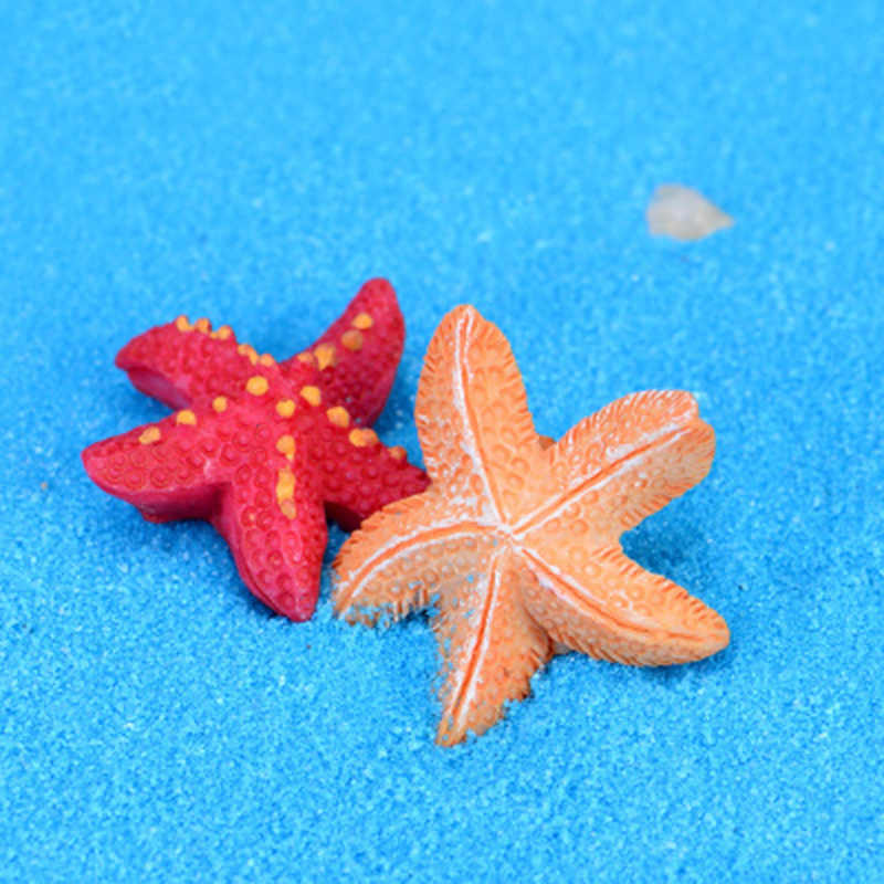 ZOCDOU 4 Pieces Red Yellow Starfish Sea Star Sandy Beach Model Small Statue Figurine Crafts Ornament Miniatures DIY Home Decor