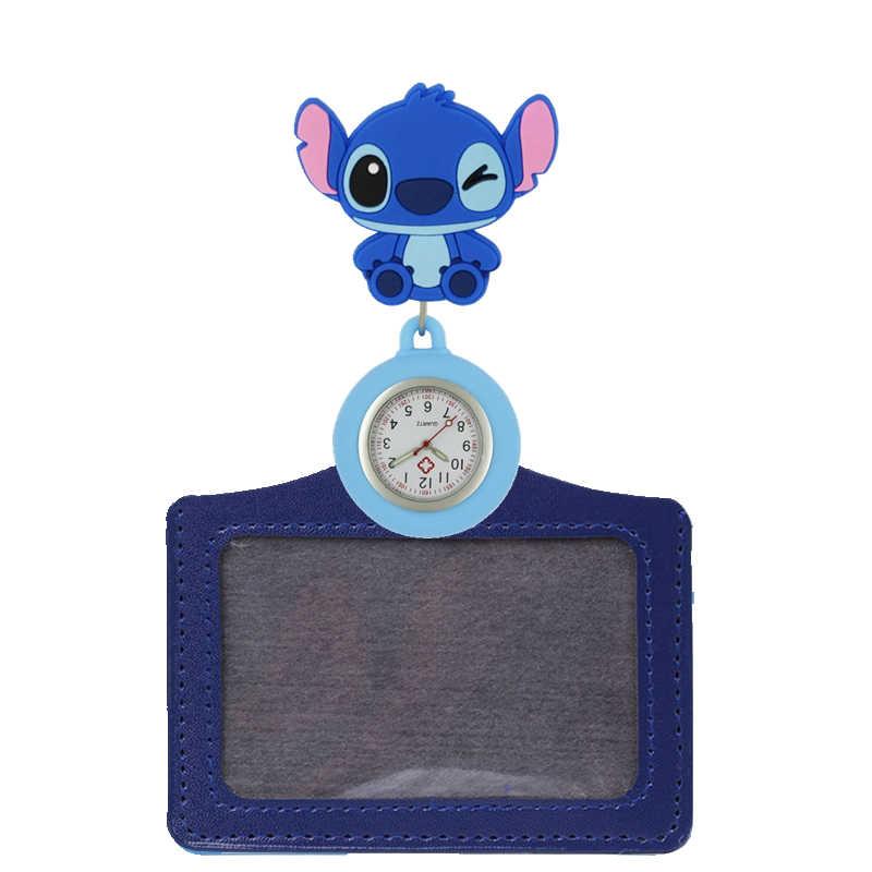 Mode 2 en 1 dessin animé animal en caoutchouc souple infirmière rétractable montres de poche dames femmes médecin Badge bobine cartes nominatives montres