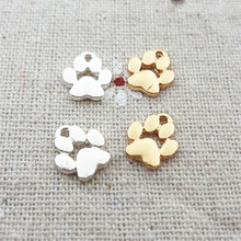 High Polished 20 Pieces/Lot 9mm*11mm Gold Color And Shiny Silver Color Small Charm Dog Paw Charms Diy Jewelry Making Charms