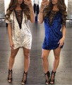 Мода Кукурузы Повязку V Шеи Бархат Мода Мини Рубашка Платье Женщины Элегантный Клуб Рубашка Мини-Платье