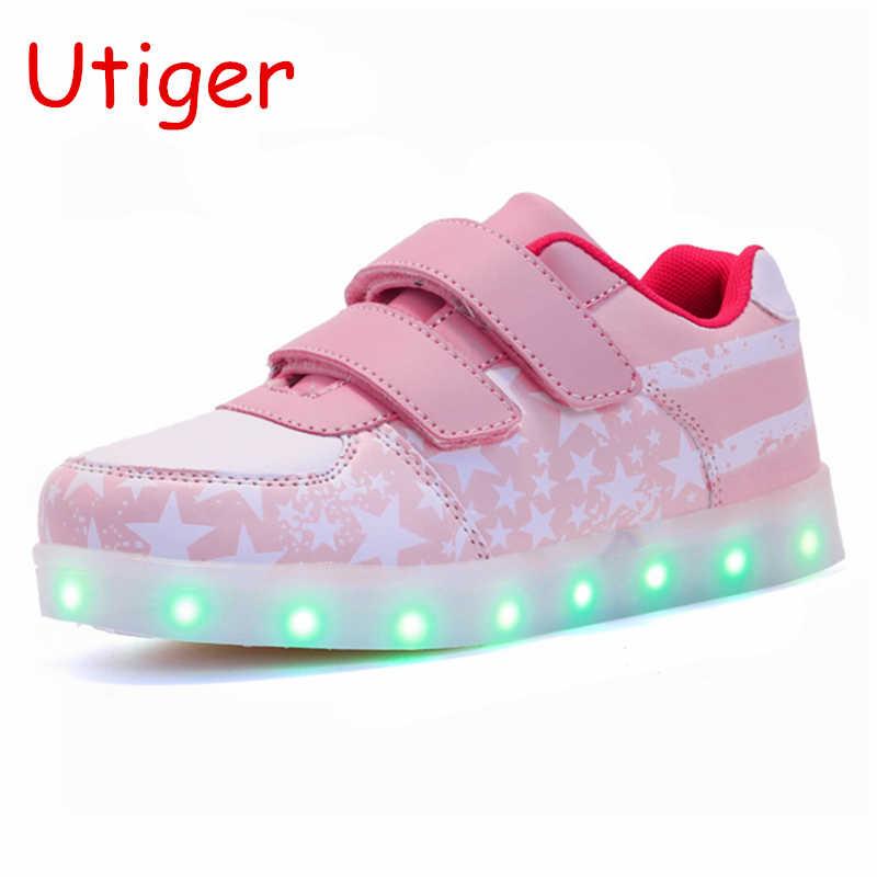 เด็กกีฬารองเท้าเด็กเรืองแสงรองเท้าส่องสว่างชาร์จ USB เด็กรองเท้าเด็กรองเท้าผ้าใบ Led Enfant