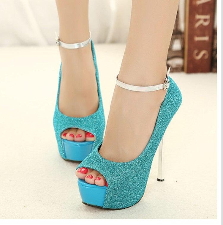 ФОТО 2017 Summer Sexy Girl Silver Black Blove Purple Ultra Bright Platform Thin High Heels Women Sandals Peep Toe Woman Wedding Shoes