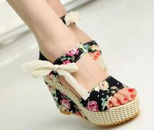 fashion women sandals summer wedges women's sandals platform lace belt bow flip flops open toe high-heeled women shoes female