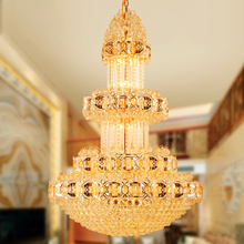 hot deal buy american modern crystal chandelier lights fixture led light european long golden crystal chandeliers hotel home indoor lighting