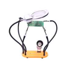 Third Hand Soldering Stand, Welding Tool LED Magnifier 5 Flexible Metal Arms, PCB circuit board soldering iron holder with clamp