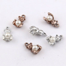 wholesale jewelry lots material cute pearl bear Shape Gold pendants making for bracelets findings components