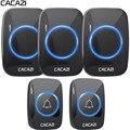 CACAZI nuevo timbre inalámbrico impermeable 300 M distancia de la UE es Reino Unido nos enchufe inteligente timbre de la puerta timbre de la Batería 2 botón 3 receptor 110 V 220 V