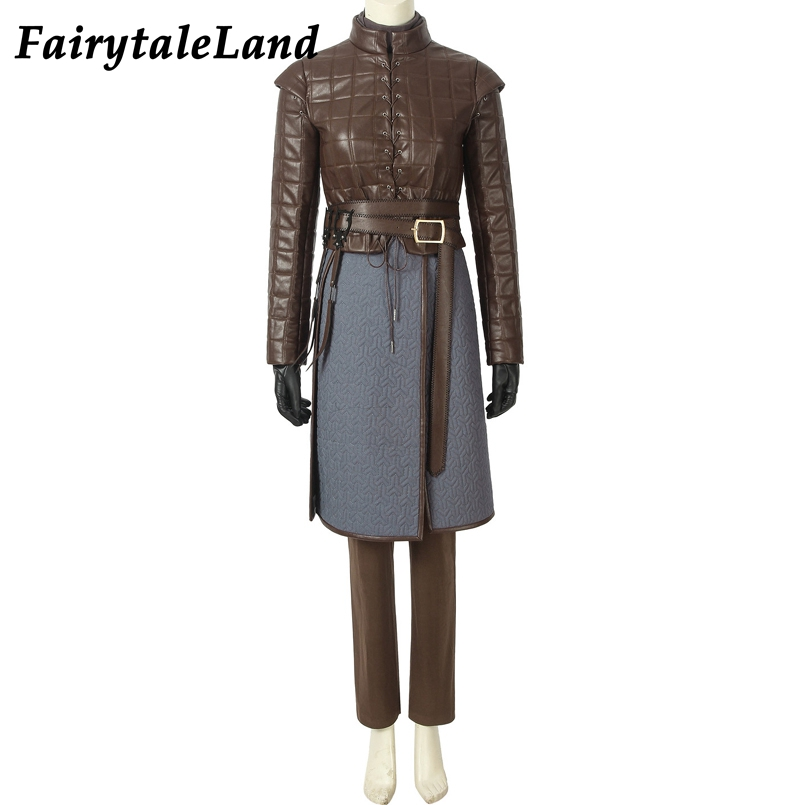 Game of Thrones Season 8 Cosplay Costume Arya Stark cosplay Outfit Full set suit Custom made Halloween costume