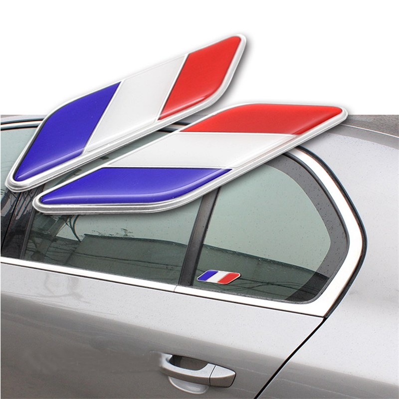 2 x Car-styling Tricolor Flag 3D Original design car spare parts car accessories car fender sticker for Audi BMW VW Kia Benz