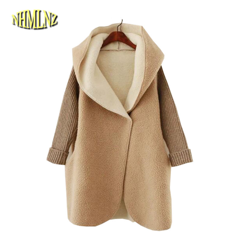 Pregnant Women Winter Coats Thick Warm Cotton Jacket New Fashion Women Coat Knit Patchwork Long-sleeve Loose Hooded Jacket G2834 2017 winter classic fashion fur hoodie coat jacket women thick warm long sleeve cotton coats student medium long loose overcoat