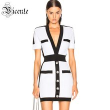 Vicente All Free Shipping 2019 New Trendy Color Block Short Sleeves Button Design V Neck Celebrity Party Bandage Mini Dress(China)