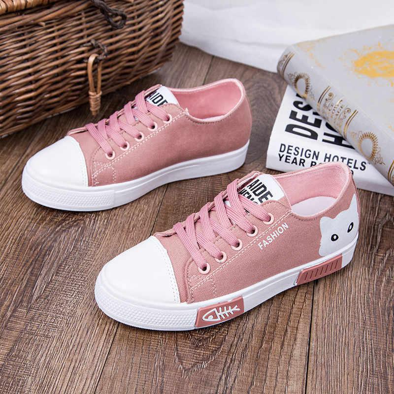 1015b6aee ... 2019 Casual Women Shoes Women Flats Canvas Shoes Fashion Women Sneakers  Lace Up Cartoon Ladies Shoes