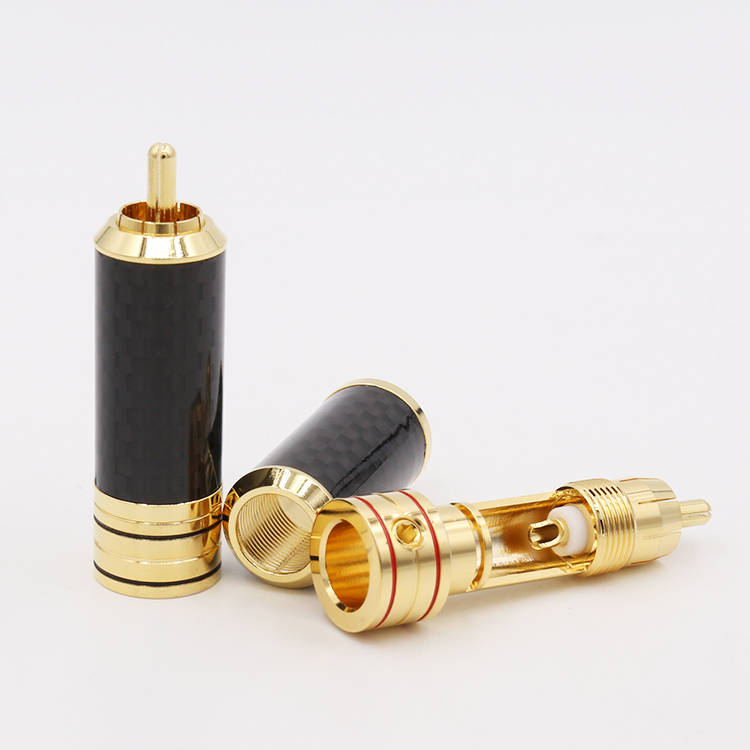 4pcs Viborg  High quality  Hifi audio  USA Copper Gold Plated Carbon Fiber RCA Extension Connector Plugs viborg audio 8pcs rhodium gold plated rca socket phono chassis female hifi amp