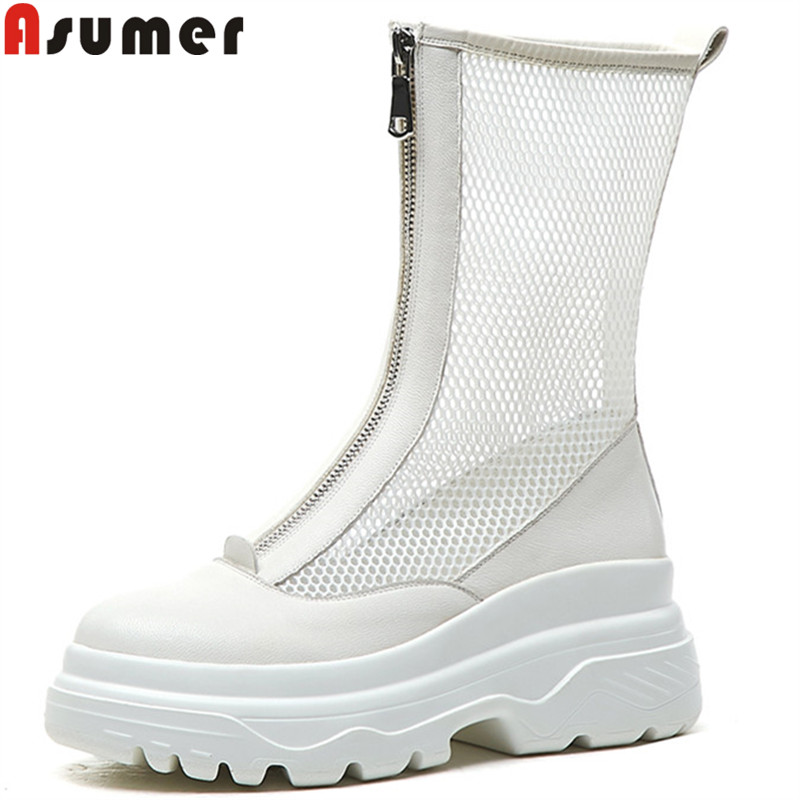 ASUMER fashion summer new shoes woman zip ankle boots mesh+genuine leather shoes women flat platform ladies shoes boots women