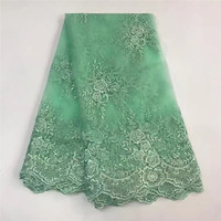 Best Quality African Pearls Lace Fabric Green Swiss Voile Lace High Quality Embroidery French Mesh 2018
