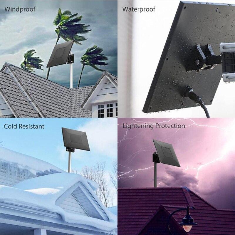 Dawupine extérieur actif haute définition TV réception antenne Signal Booster Gain pour DVB-T2 ISDB-T ATSC décodeur Smart TV