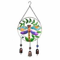 23.5*10.7 Inch Dragonfly Vintage Wind Chime Suncatcher Handmade Outdoor Garden Wind Bell Home&Garden Wall Hanging Car Decor