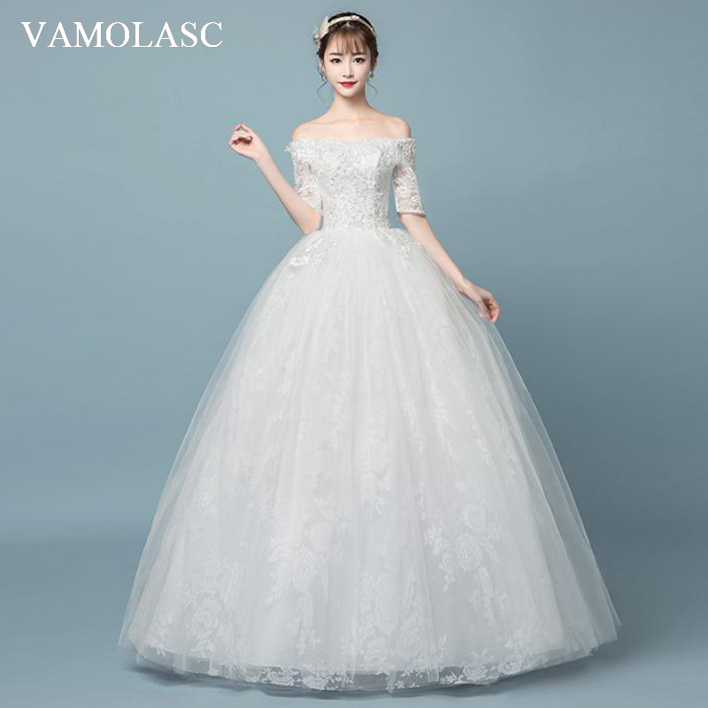 VAMOLASC Elegant Boat Neck Lace Appliques Ball Gown Wedding Dresses Illusion Half Sleeve Backless Bridal Gowns