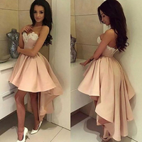 2017 Autumn Winter Sexy Club Lace Dress Trumpet Mermaid Sweetheart Pink Stretch Satin Appliques Strapless Party