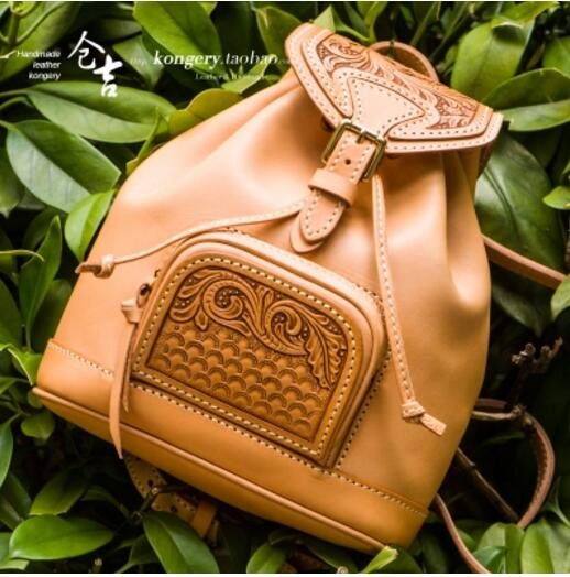 Genuine leather Handmade backpack ladies shoulder bag women's bags  RETRO art trend leisure first tier college wind Backpack kundui 2016 new europe and america schoolbag england girl shoulder bag leisure backpack retro college wind genuine leather bag