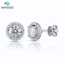 DovEggs 10K White Gold 1.48ctw FG Colorless Lab Created Moissanite Diamond Stud Earrings For Women Earring with Accents