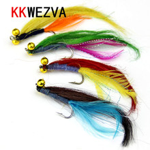 KKWEZVA 4pcs Big Fly fishing lures Butterfly Insects Style Salmon Flies Trout