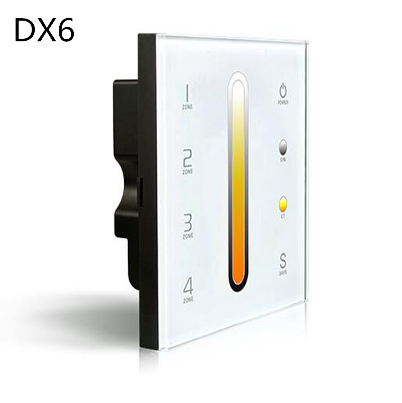 DX6 DX7 4 Zones Control Touch Panel Wall Mount LED Color Temperature Adjustable CT dual color Controller 2.4G Wireless DMX512