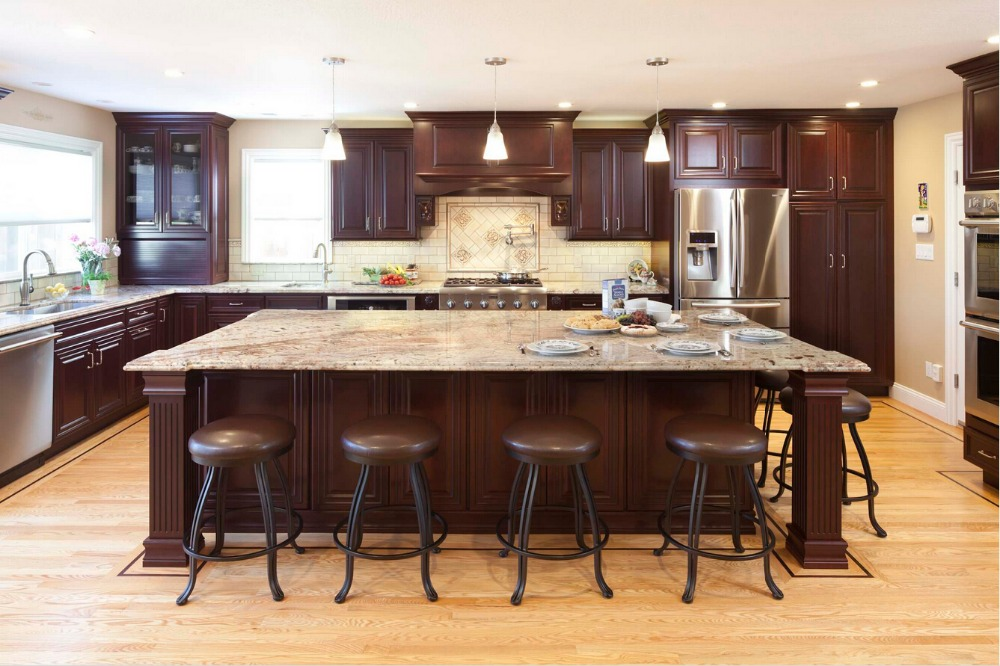 2017 Hot Sales Wood Kitchen Cabinets Cheap Priced Armoires De Cuisine Traditional Kitchen Island With Storage