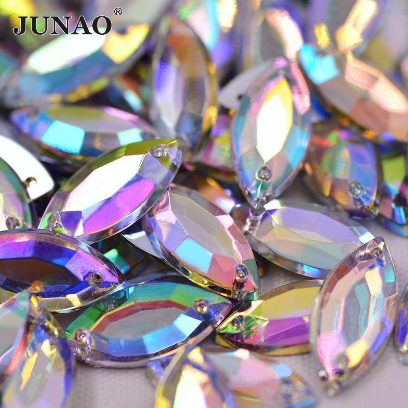 JUNAO 7*15mm Sewing Flatback Crystal AB Rhinestone Sew On Acrylic Stones Horse Eye Shape Strass Crystal For Clothes Crafts