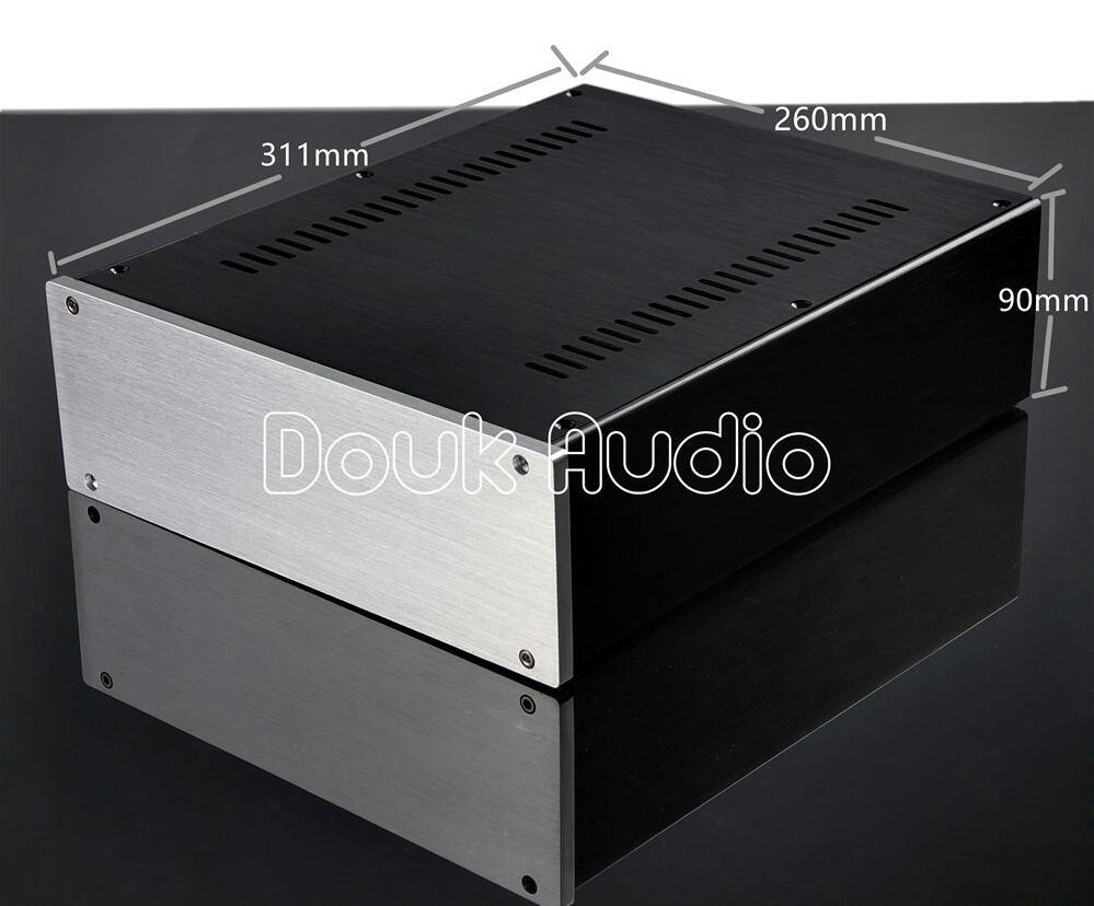 Douk Audio Aluminum Chassis Power Amplifier Case DIY Box Combined Enclosure W260*H90*D311mm 2515 aluminum enclosure preamp chassis power amplifier case box size 311 253 150mm