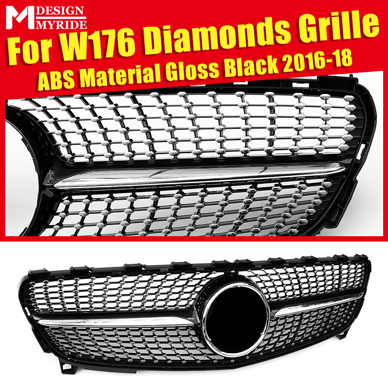 Fits For W176 Diamonds Grille ABS Material Black Front Mesh A180 A200 A250 Bumper Kidney Grills Without Sign 2016-18