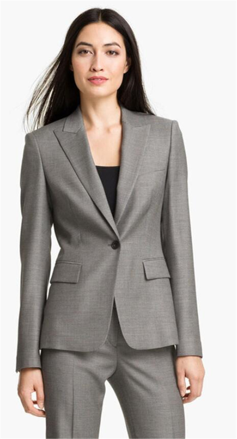 Grey Women's PantSuits Ladies Business Office Tuxedos Formal Work Wear Suits Custom Made Women's Suits