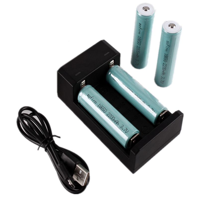 Sofirn 2200MAh 18650 Rechargeable Battery Pre-charged 3.7V Li-ion Unprotection 4* 18650 Batteries With 1 Charger For SF34