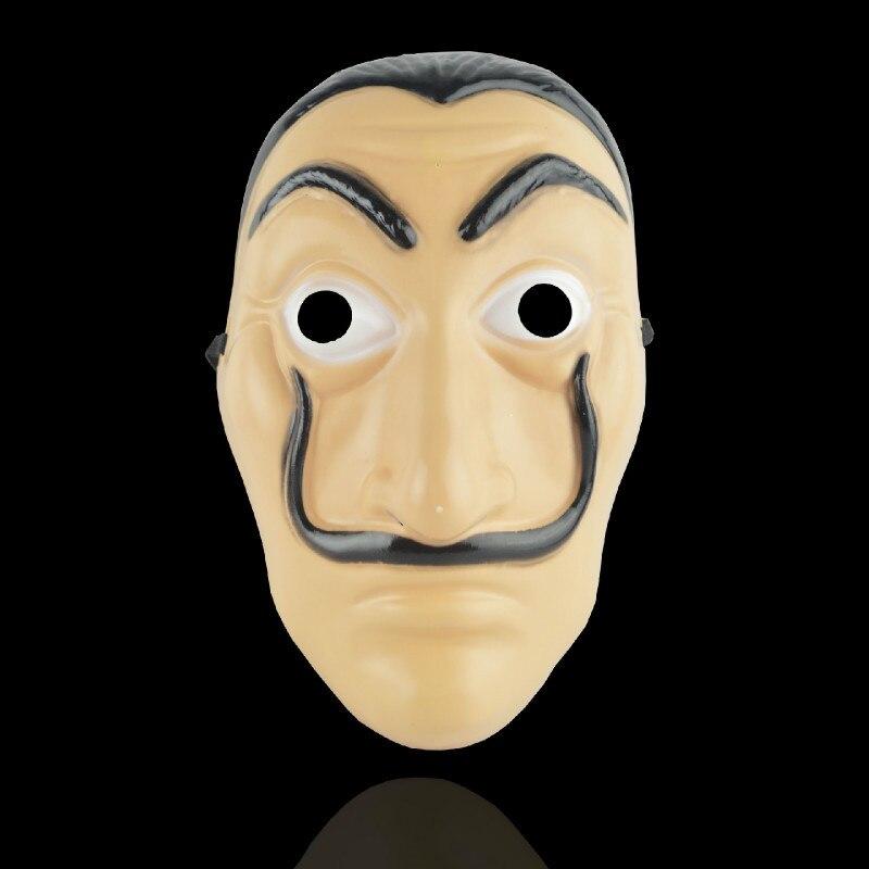La Casa De Papel Masque Salvador Dali en plastique visage drôle Masque Costumes Cosplay Masque Mascara Dali Masque argent Heist vente en gros