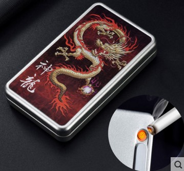 2 use Men's Cigarette Box With Lighter Cigarette Case Creative USB Charging Cigarette Lighter For Women's Slim Cigarettes