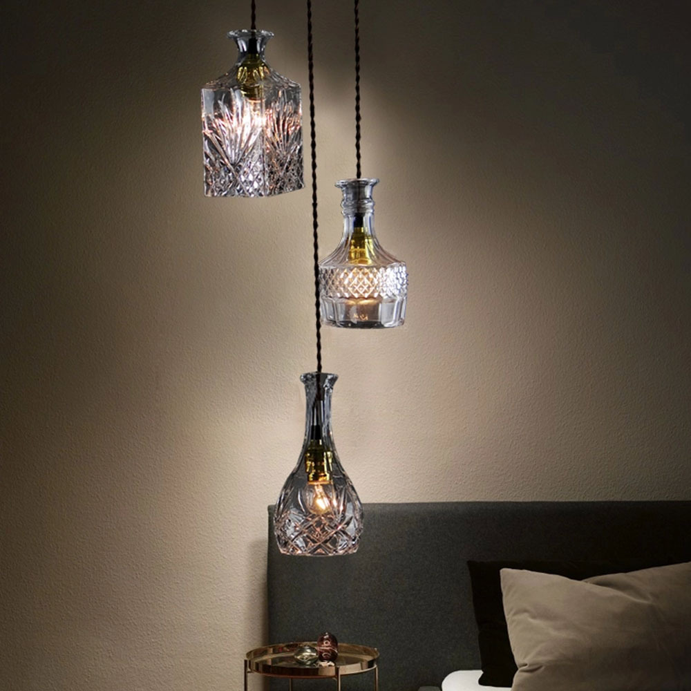 Bar pendant lighting - Aliexpress Com Buy Bottle Pendant Lights Glass Celling Lights Wine Bottle Pendant Lamp Bar Cafe Store Decoration Hanging Lights 3 Heads From Reliable