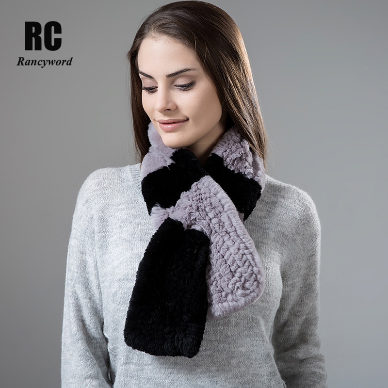 [Rancyword] Natural Fur Scarf Women Winter Real Rex Rabbit fur Scarves cachecol bufandas New arrival muffler thermal Soft RC1337