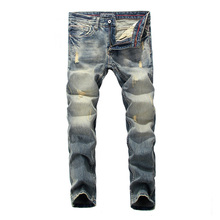 Italian Style Fashion Men Jeans Slim Fit Retro Washed Ripped For Vintage Designer Streetwear Classical Pants