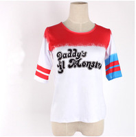 2016 Movie Suicide Squad Harley Quinn Daddy S Lil Monster Half Sleeve O Neck Cotton Cosplay