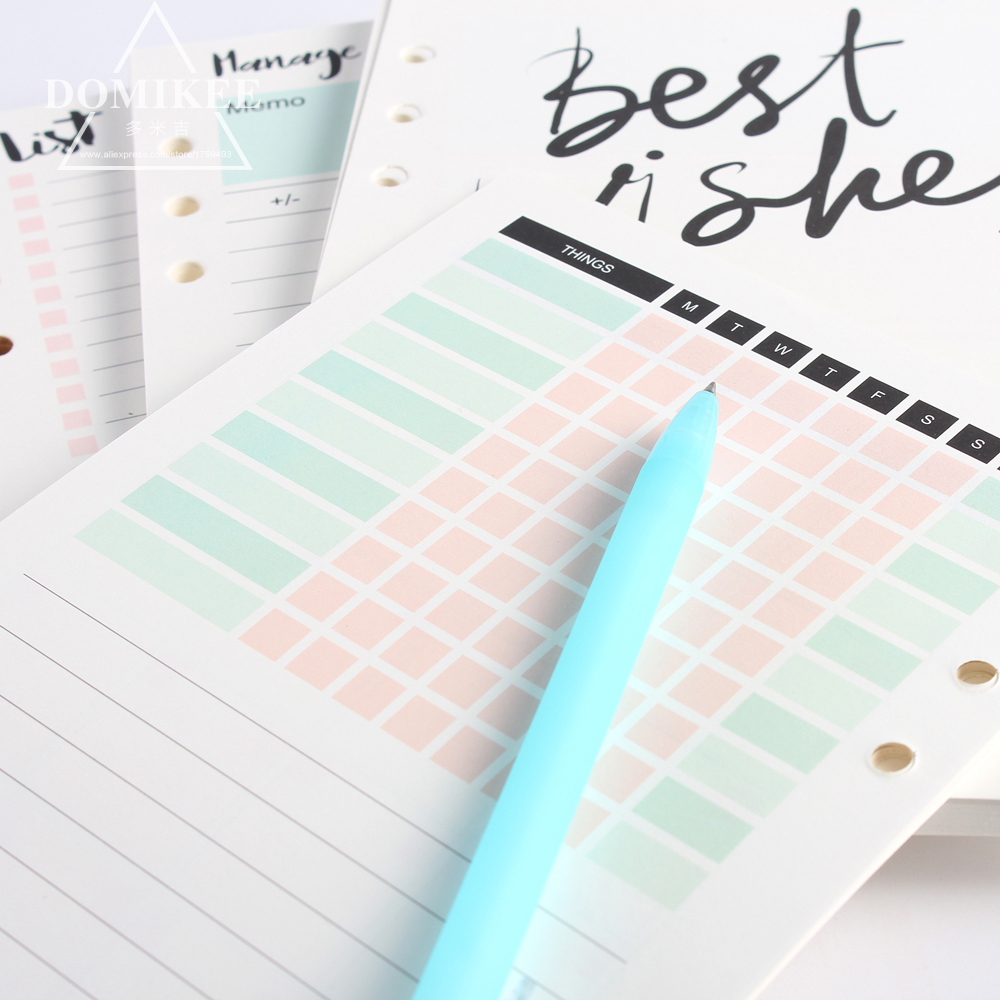 New Cute 6 Hole Binder Spiral Notebooks Replacement Inner Paper Core Stationery:4 Kinds:monthly Weekly Planner,list,account A5A6
