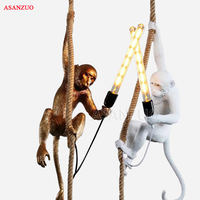 Simple Design Resin Monkey Pendant Light For Home living room study bar restaurant personalized E27 Pendant lamp