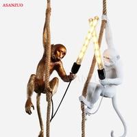 Simple Design Resin Monkey Pendant Light For Home living room study bar restaurant personalized E27 Pendant lamp