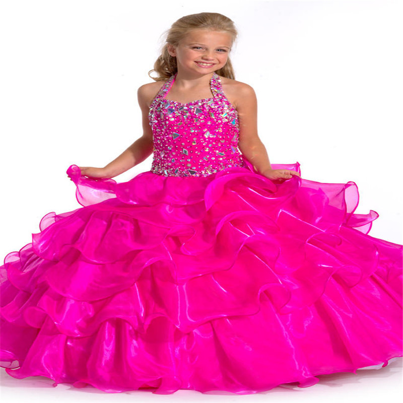Little Girls Wedding Gowns: Aliexpress.com : Buy 2017 Fuchsia Crystal Ball Gowns