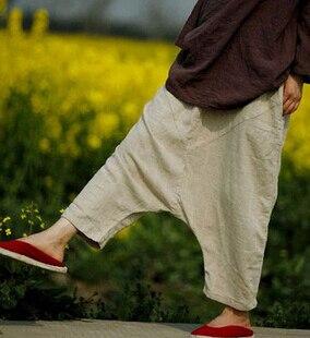 Для женщин летнее платье, дизайн, хлопковые брюки без левый карман с заниженным шаговым швом свободные большие Размеры тонкие льняные брюки для девочек D104 - Цвет: Бежевый