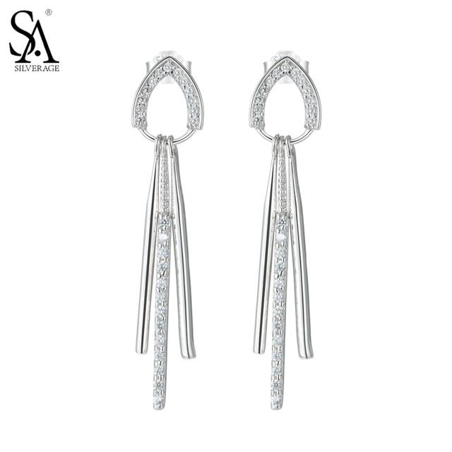 SA SILVERAGE 925 Sterling Silver Tassal Drop Earrings for Women Fine Jewelry AAA Cubic Zirconia 2016 Christmas Gift New Year